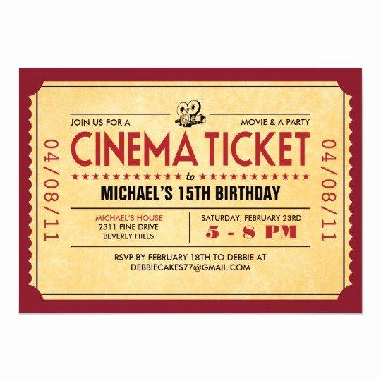 Vintage Movie Ticket Template New Retro Movie Ticket Invitations