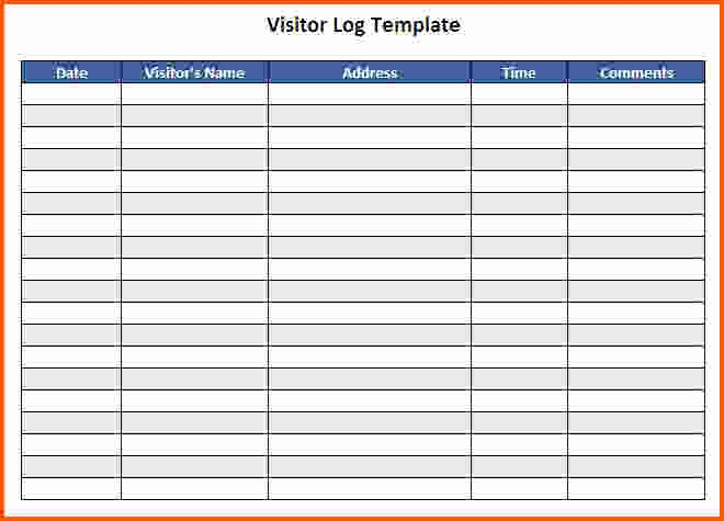 Visitor Log Template Excel Awesome Visitor Log Template