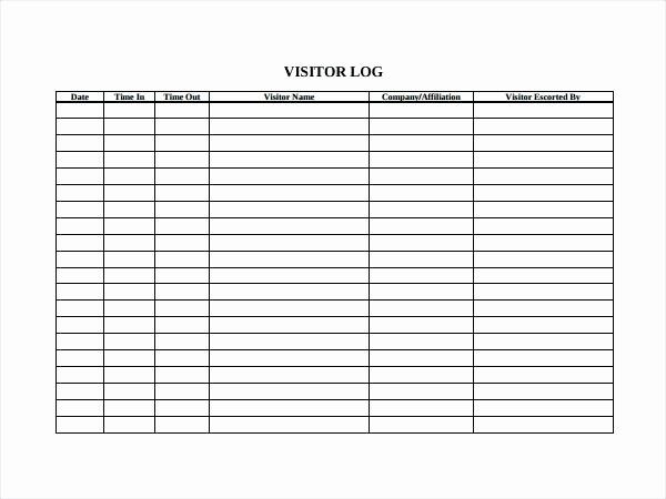 Visitor Log Template Excel Elegant Visitor Log Template Excel – Chaseevents