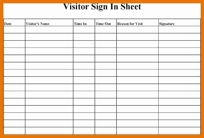 Visitor Log Template Excel Inspirational 7 8 Visitor Sign In
