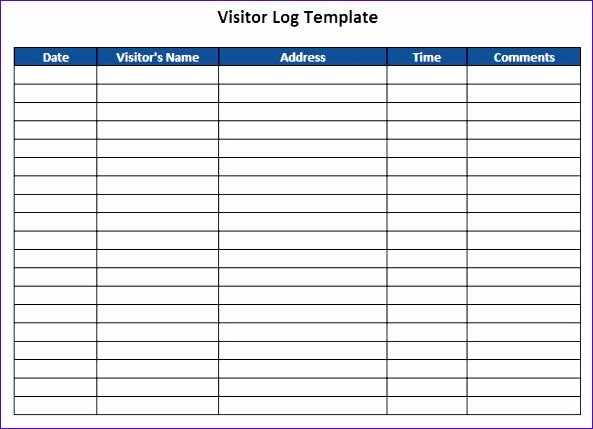 Visitor Log Template Excel Luxury 10 Visitor Log Template Excel Exceltemplates