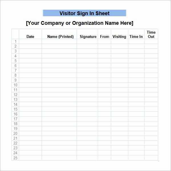 Visitor Log Template Excel New Sign In Sheet Template 21 Download Free Documents In