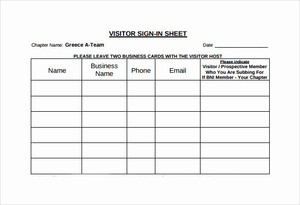 Visitor Sign In Sheet Template Awesome 11 Sample Visitor Sign In Sheets