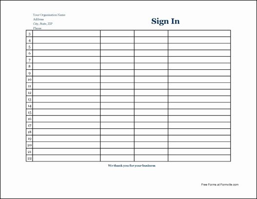Visitor Sign In Sheet Template Awesome 7 Free Sign In Sheet Templates Word Excel Pdf formats