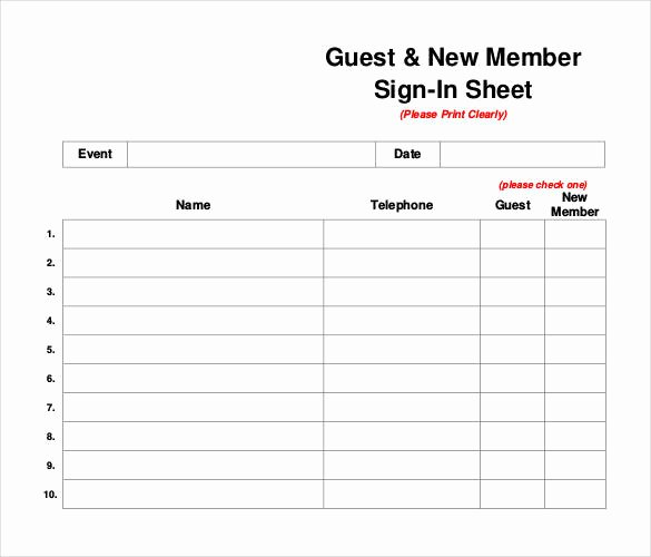 Visitor Sign In Sheet Template Awesome 75 Sign In Sheet Templates Doc Pdf
