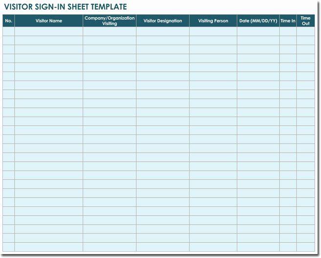 Visitor Sign In Sheet Template Beautiful 20 Sign In Sheet Templates for Visitors Employees Class
