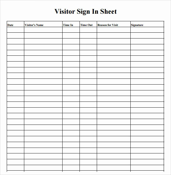 Visitor Sign In Sheet Template Fresh 34 Sample Sign In Sheet Templates – Pdf Word Apple