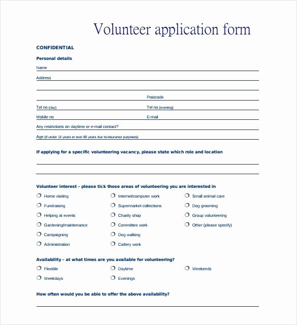 Volunteer Application form Template Awesome Charity Application form Template Volunteer Application