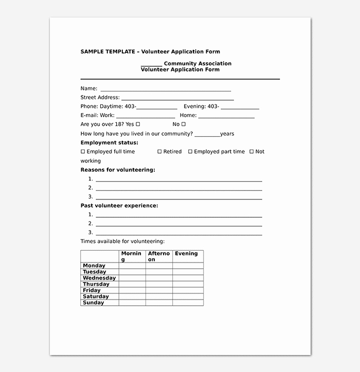 Volunteer Application form Template Awesome Volunteer Application Template 20 forms Doc & Pdf format