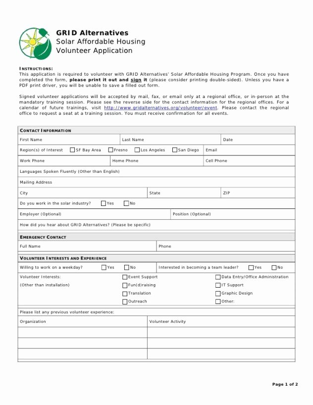 Volunteer Application form Template Awesome Volunteer Application Templates Word Excel Samples