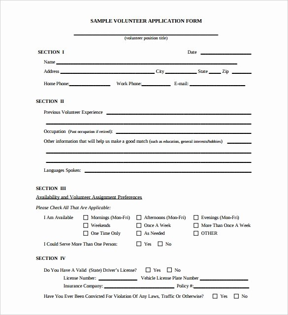 Volunteer Application form Template Elegant 10 Volunteer Application Template Word Pdf