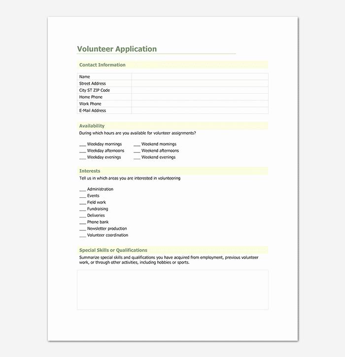 Volunteer Application form Template Elegant Volunteer Application Template 20 forms Doc & Pdf format