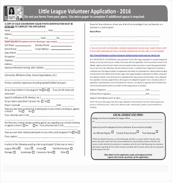 Volunteer Application form Template Fresh 10 Volunteer Application Templates Free Sample Example