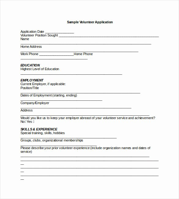 Volunteer Application form Template Fresh Application Templates – 20 Free Word Excel Pdf