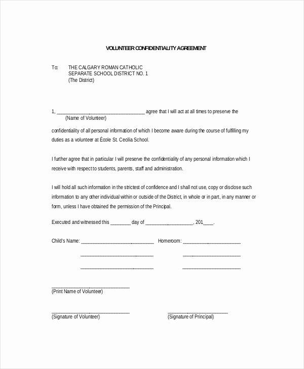 Volunteer Application form Template Fresh Volunteer Confidentiality Agreement – 10 Free Word Pdf