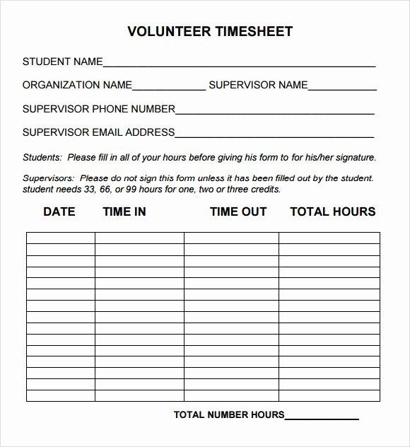Volunteer Application form Template Inspirational 15 Sample Volunteer Timesheet Templates – Pdf Word