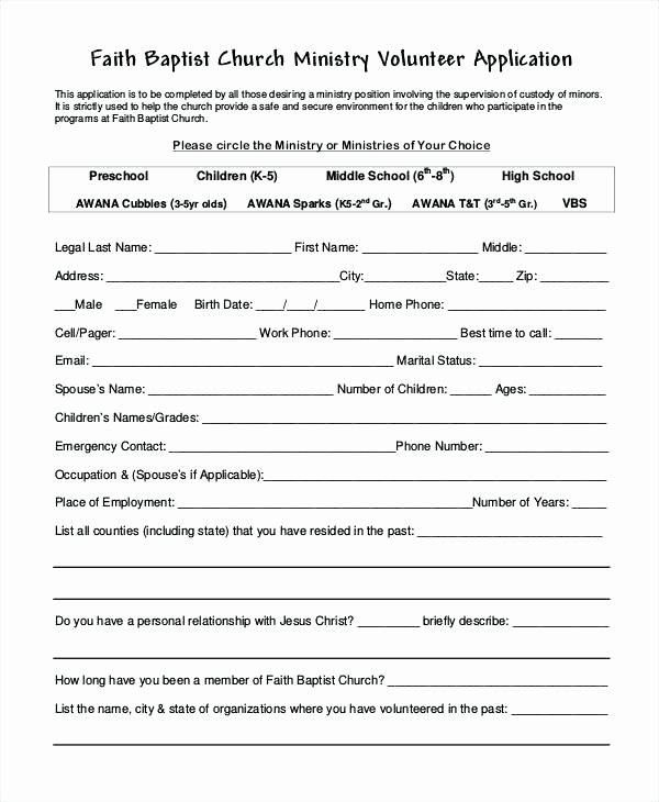Volunteer Application form Template Unique Free Sign Up Sheet Template Church Volunteer form