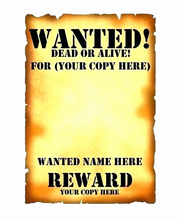 Wanted Poster Template for Word Awesome Template for Wanted Poster Invitations Free Printable