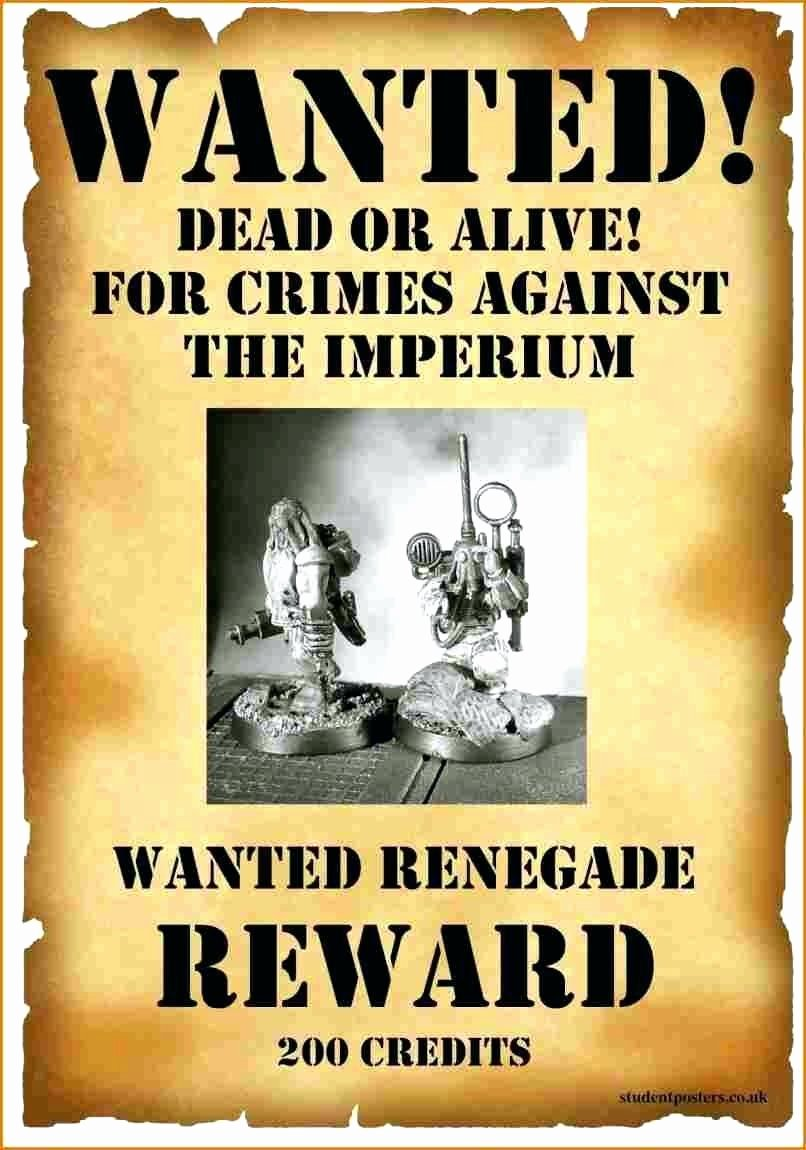 Wanted Poster Template for Word Awesome Template Wanted Dead Alive Poster Template