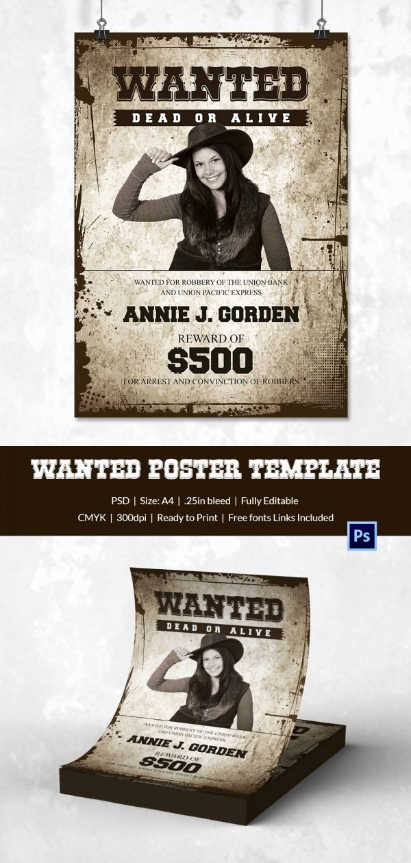 Wanted Poster Template for Word Awesome Wanted Poster Template 34 Free Printable Word Psd