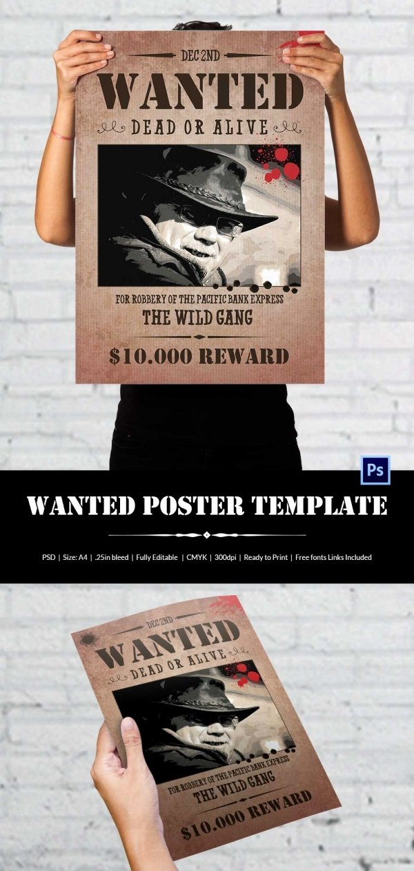 Wanted Poster Template for Word Best Of Wanted Poster Template 34 Free Printable Word Psd