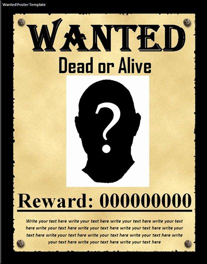 Wanted Poster Template for Word Lovely 10 Great Wanted Poster Template Collection