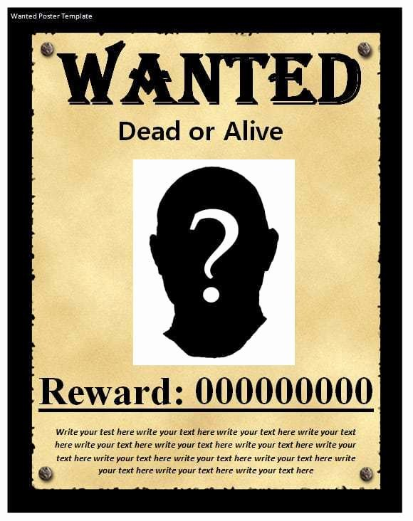 Wanted Poster Template for Word Luxury 9 Wanted Poster Templates Word Excel Pdf formats