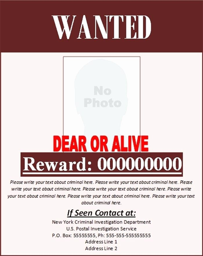 Wanted Poster Template for Word Luxury Wanted Poster Template – Traguspiercingfo