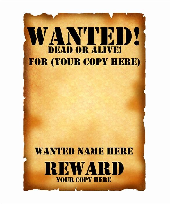 Wanted Poster Template Free Printable Inspirational Wanted Poster Template – 53 Free Printable Word Psd