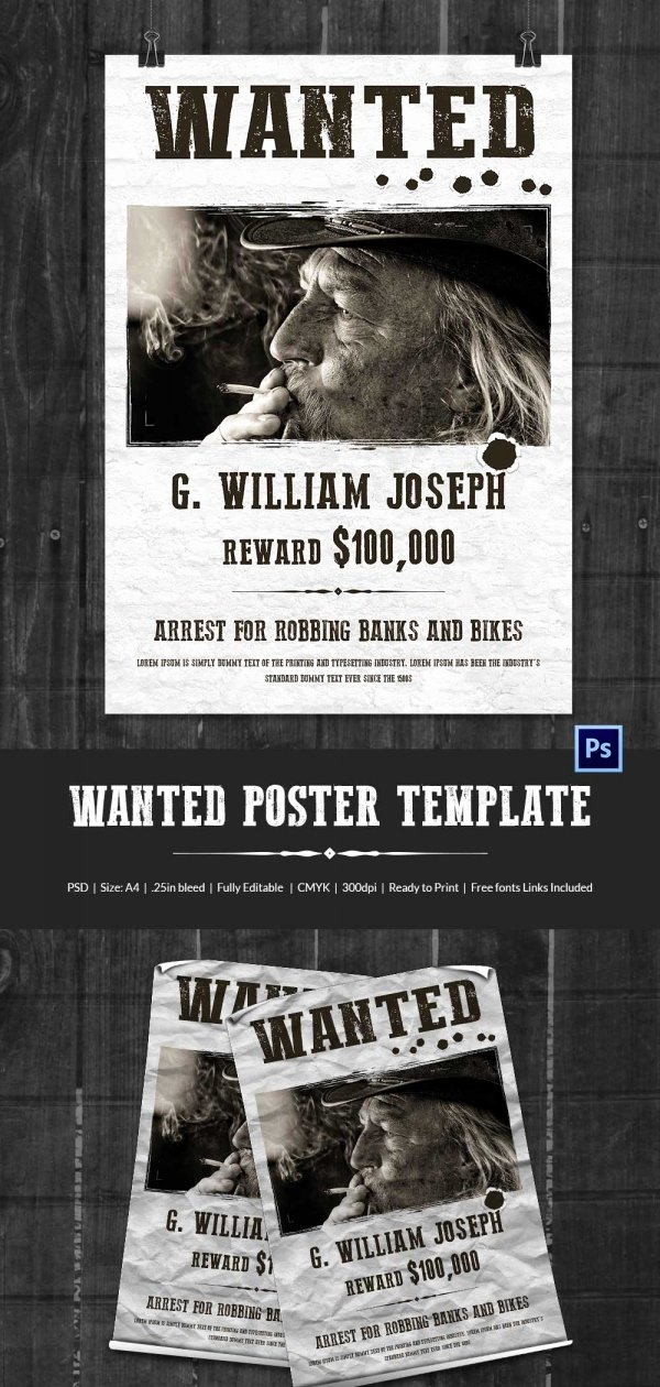 Wanted Poster Template Free Printable Lovely Wanted Poster Template 34 Free Printable Word Psd