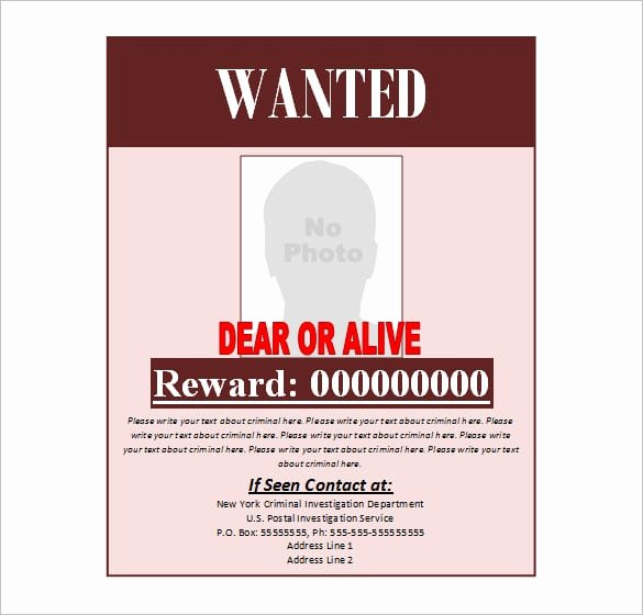Wanted Poster Template Microsoft Word Best Of 4 Free Wanted Poster Templates Excel Pdf formats