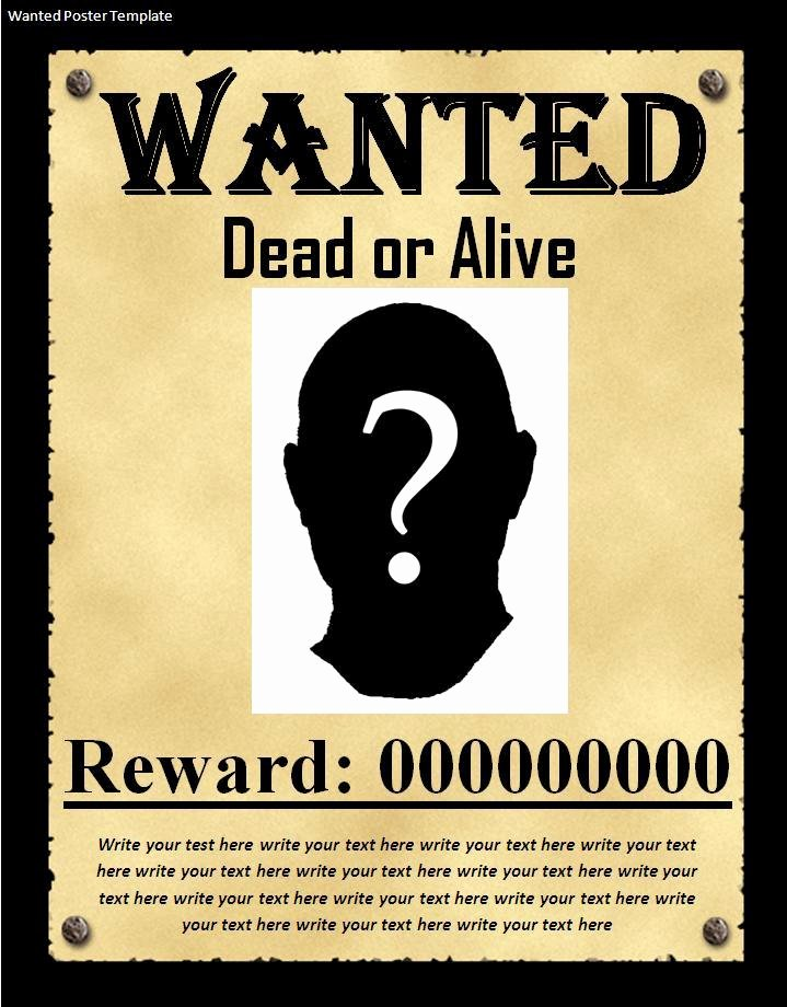 Wanted Poster Template Microsoft Word New 7 Wanted Poster Templates Excel Pdf formats