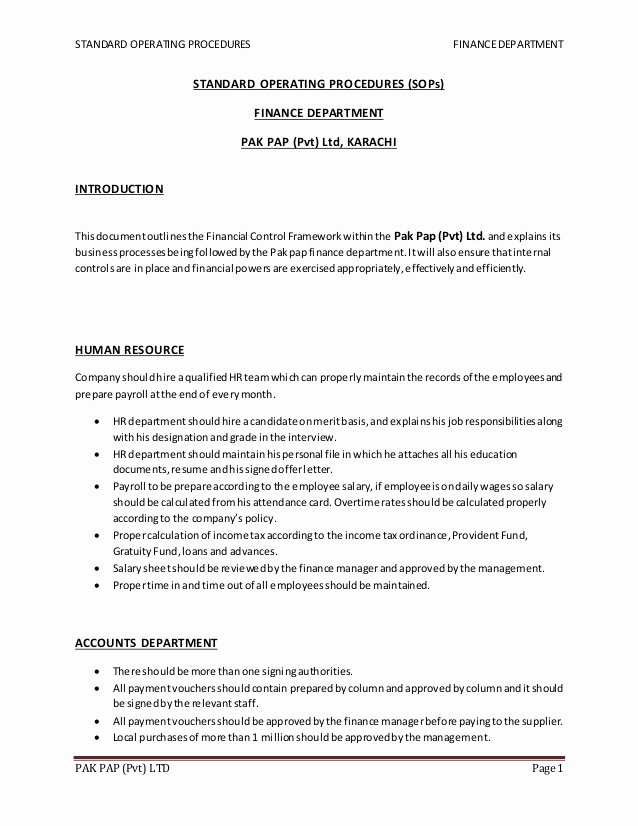 Warehouse Standard Operating Procedures Template Inspirational Warehouse Standard Operating Procedures