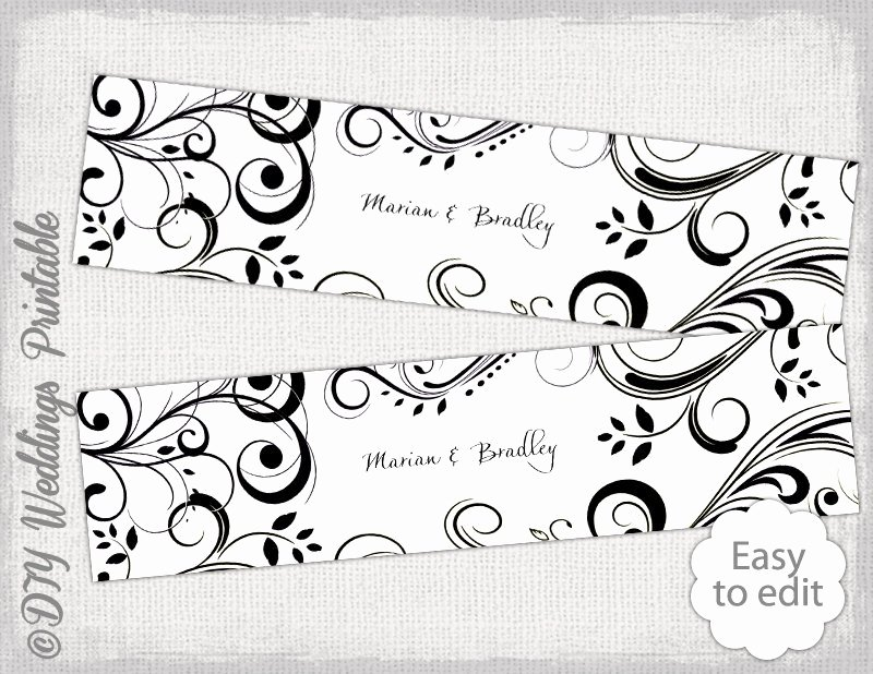 Water Bottle Template Printable Beautiful Diy Water Bottle Label Template Black and White