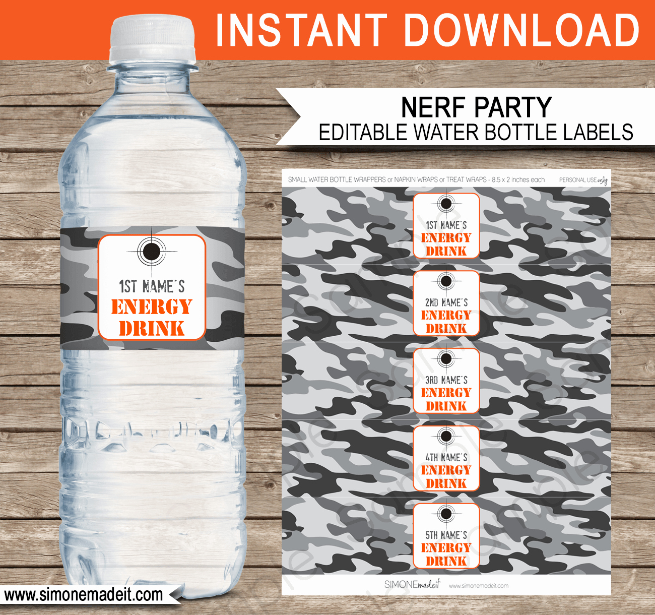 Water Bottle Template Printable Best Of Nerf Party Water Bottle Labels Template