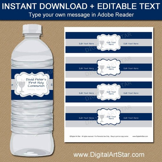 Water Bottle Template Printable Fresh 1st Munion Water Bottle Label Template First Holy