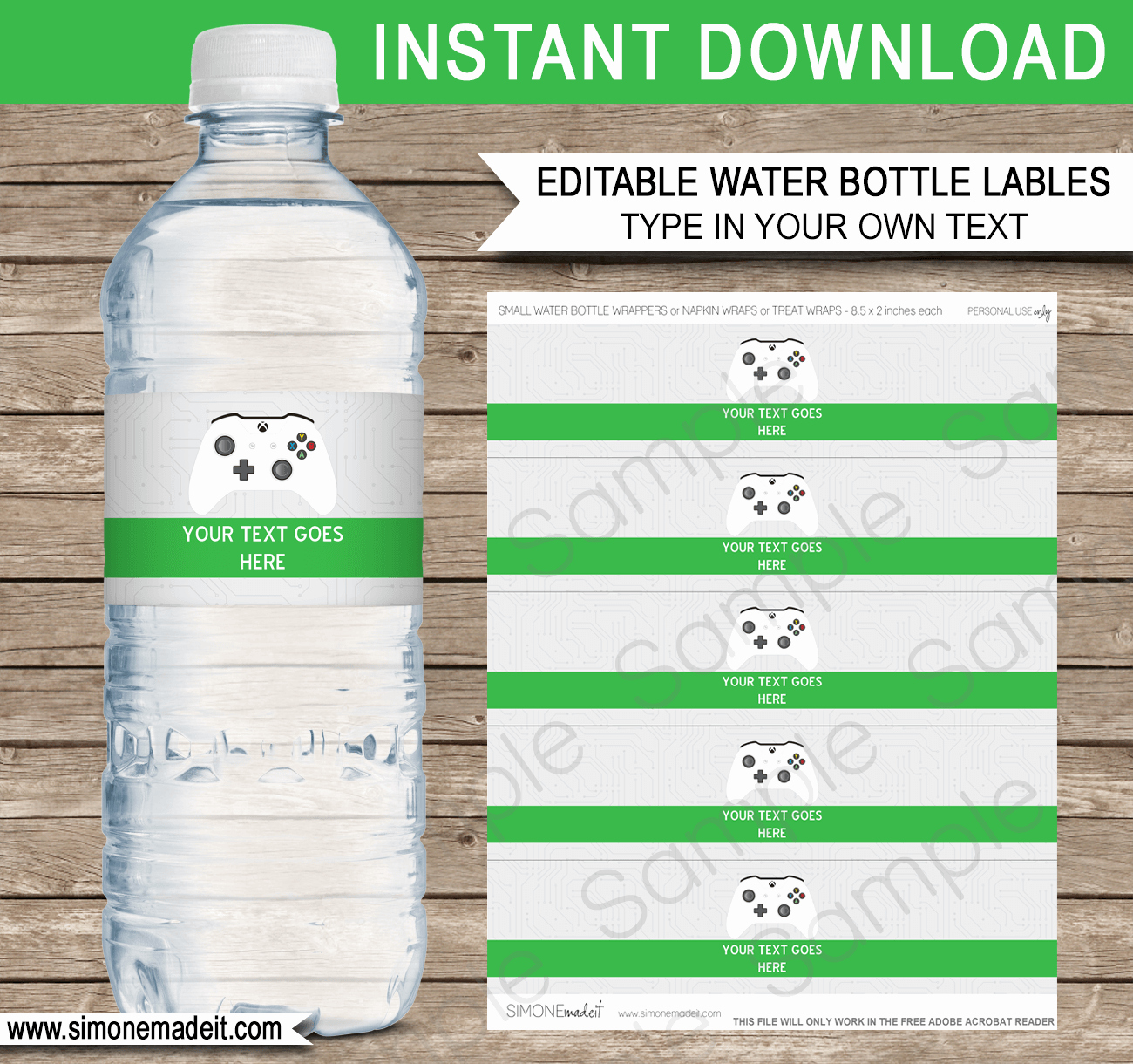 Water Bottle Template Printable Luxury Xbox Party Water Bottle Labels