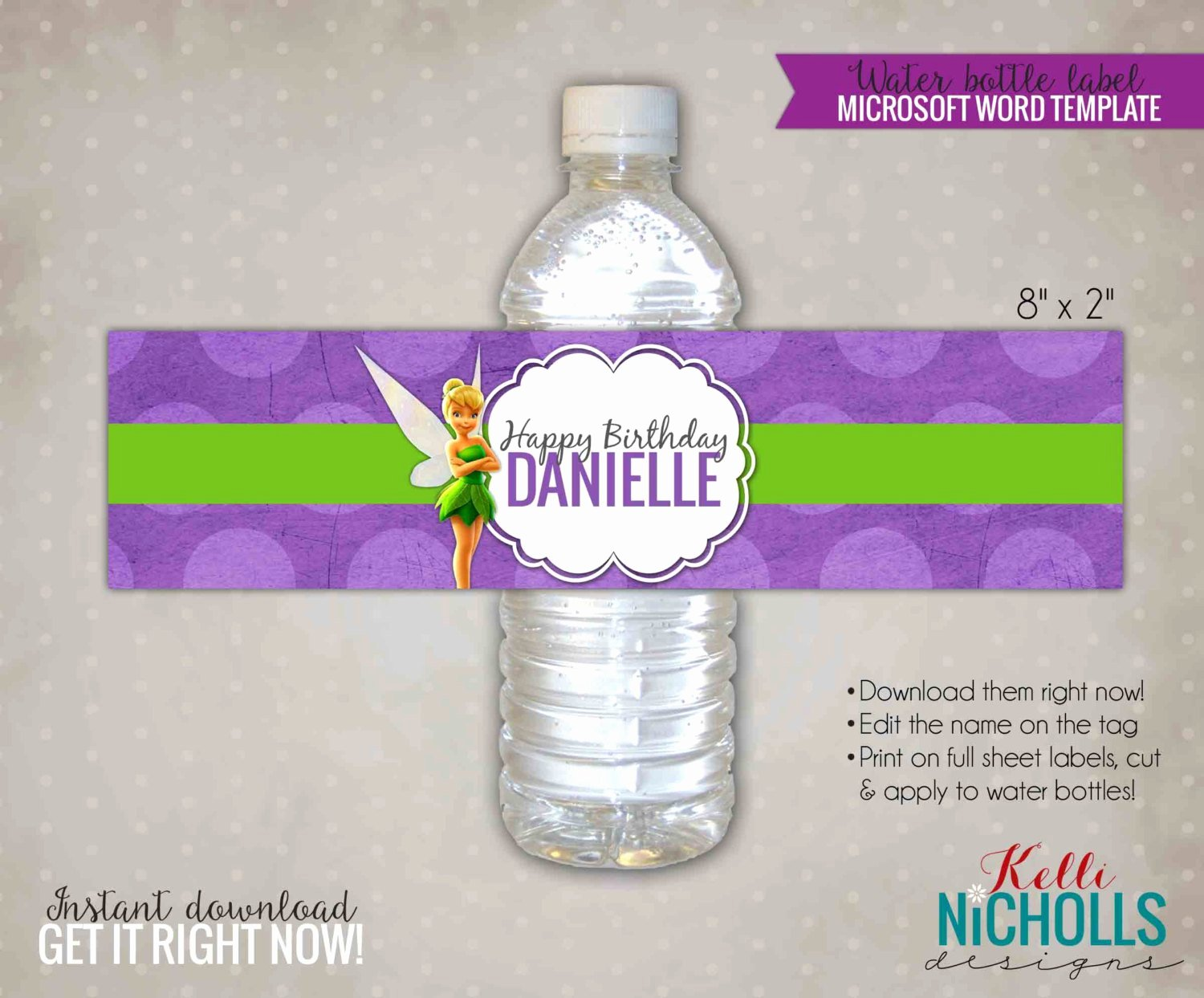 Water Bottle Template Printable New Tinkerbell Water Bottle Label Template by Kellinichollsdesigns