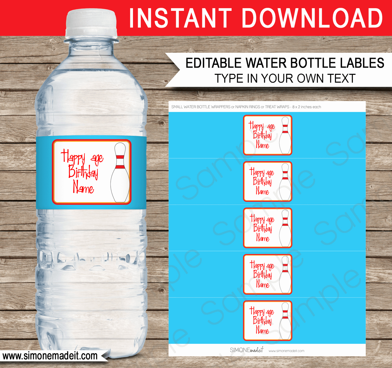 Water Bottle Template Printable Unique Bowling Party Printables Invitations & Decorations