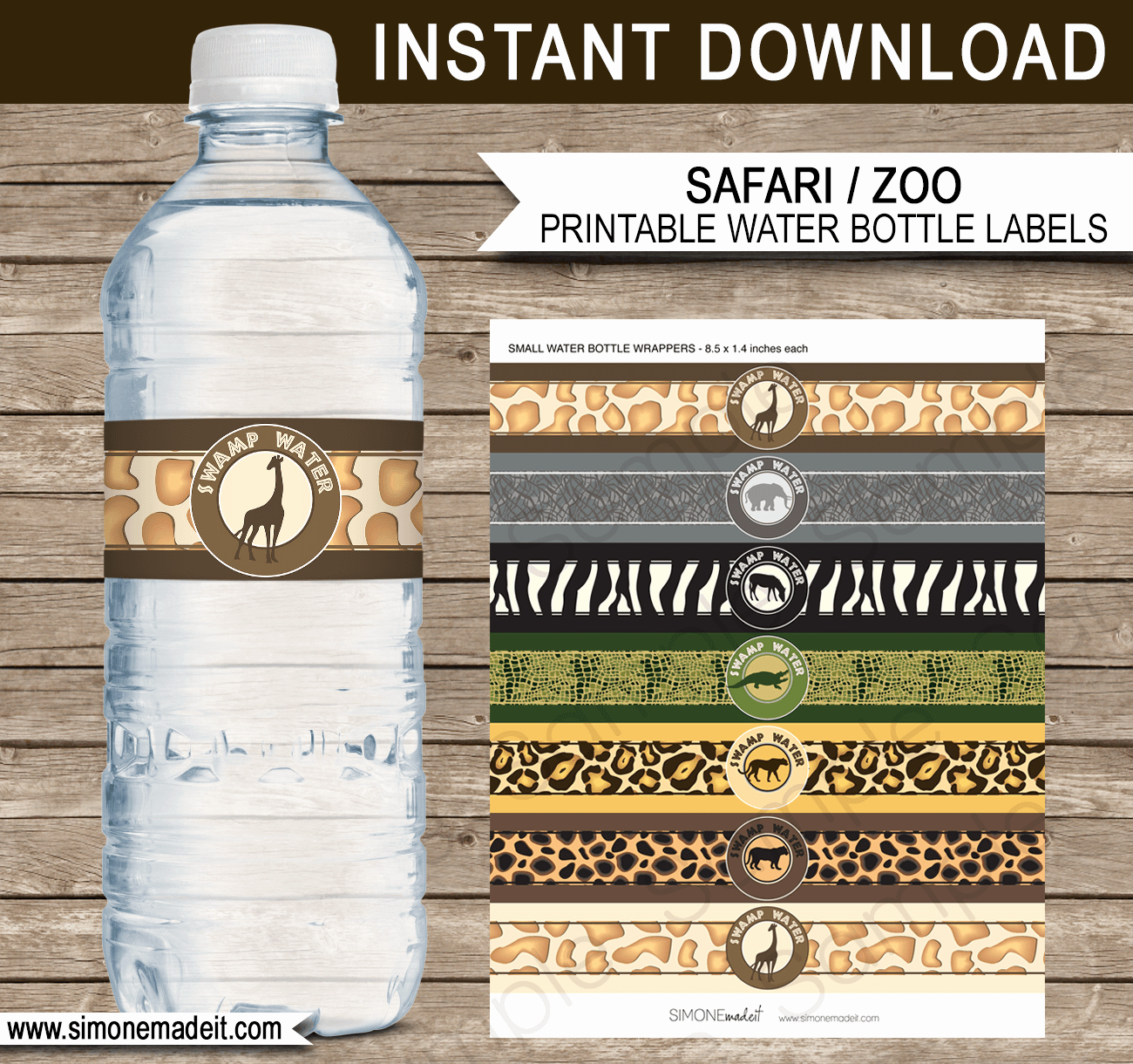 Water Bottle Template Printable Unique Safari Party Printables Invitations & Decorations