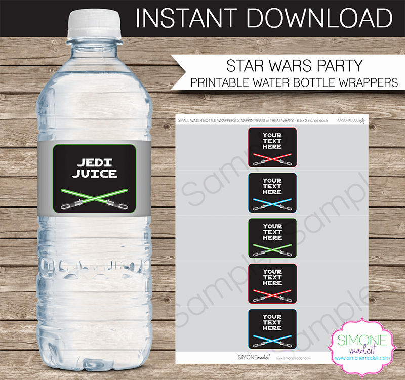 Water Bottle Template Printable Unique Star Wars Party Water Bottle Labels