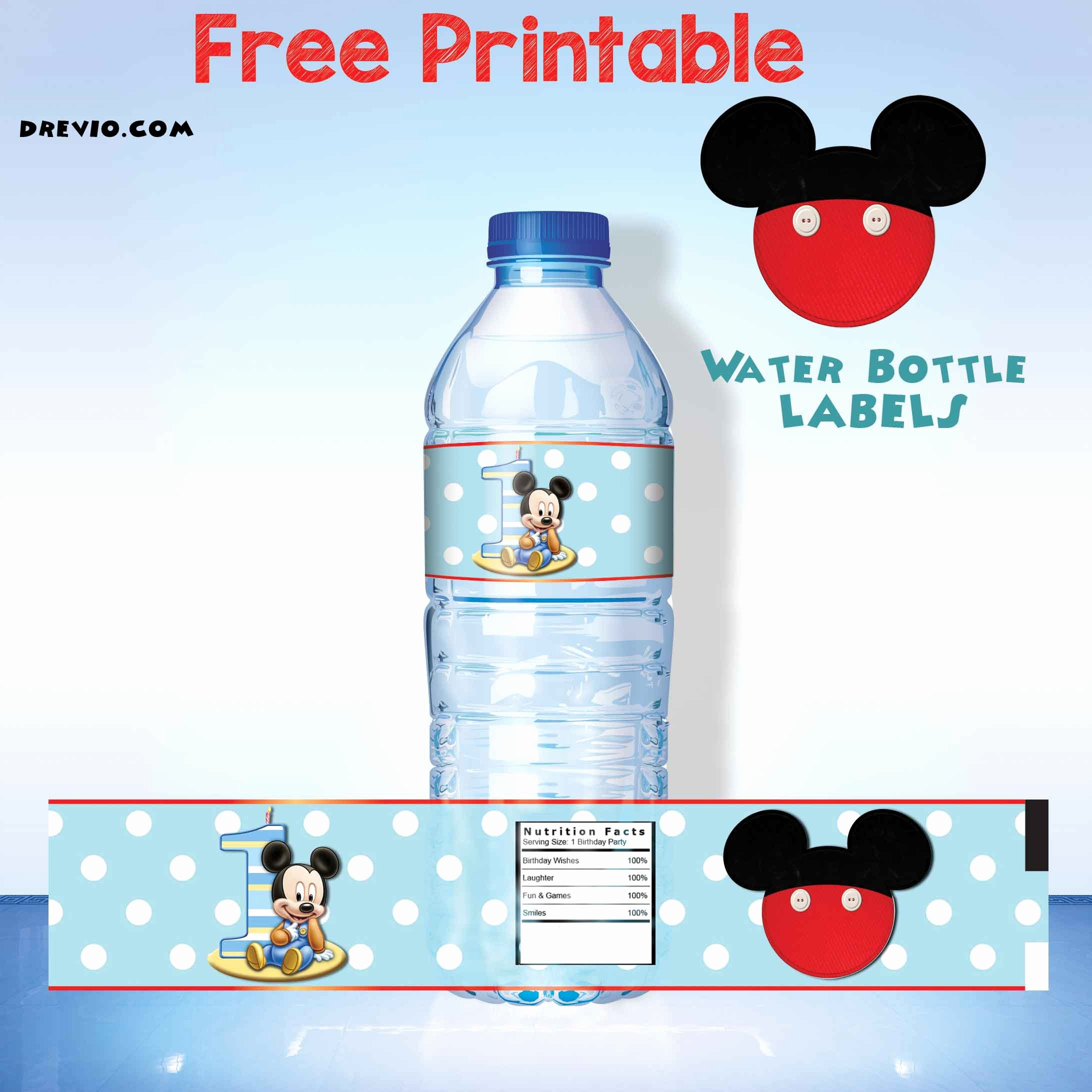 Water Labels Template Free Beautiful Free Printable Mickey Mouse Water Bottle Label