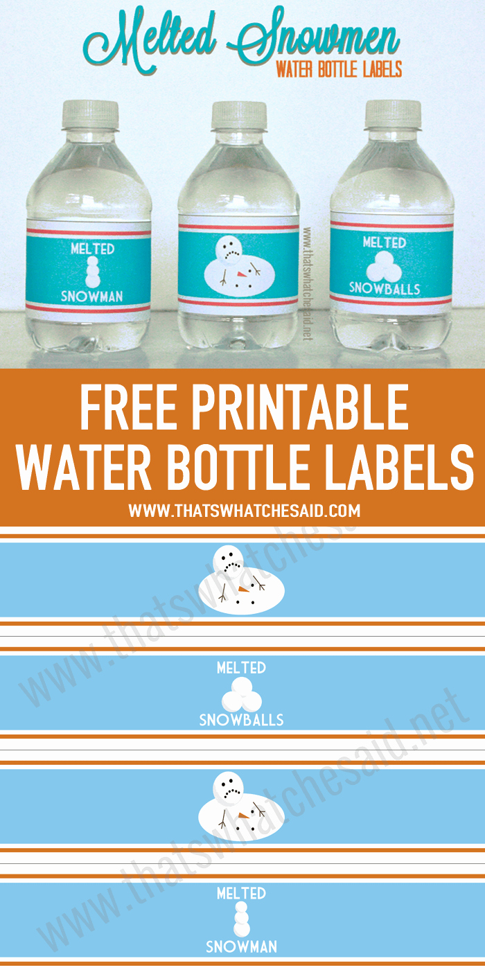 Water Labels Template Free Elegant Melted Snowman Water Bottle Labels that S What Che Said