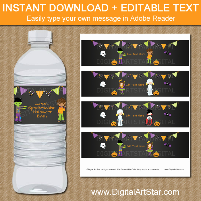 Water Labels Template Free Lovely Halloween Water Bottle Label Template