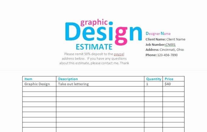 Web Design Estimate Template Fresh Send You A Graphic Design Contract Invoice Estima