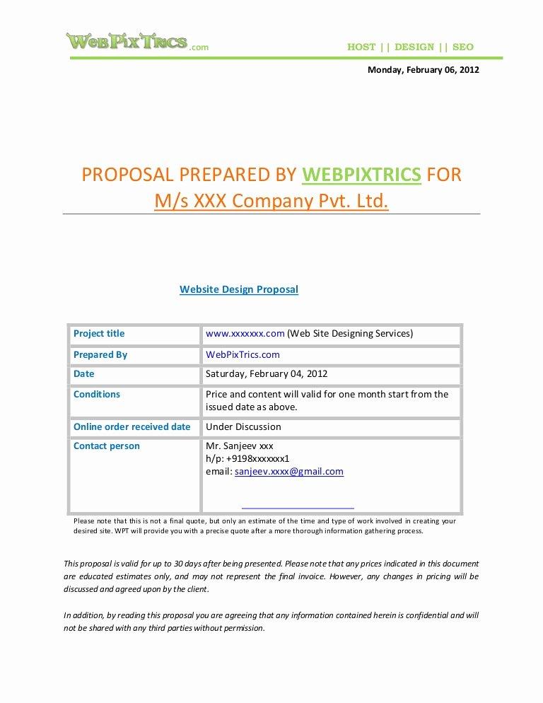 Web Design Estimate Template Inspirational Web Design Proposal Sample