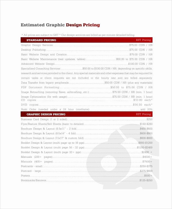 Web Design Estimate Template Luxury 8 Graphic Design Quote Templates