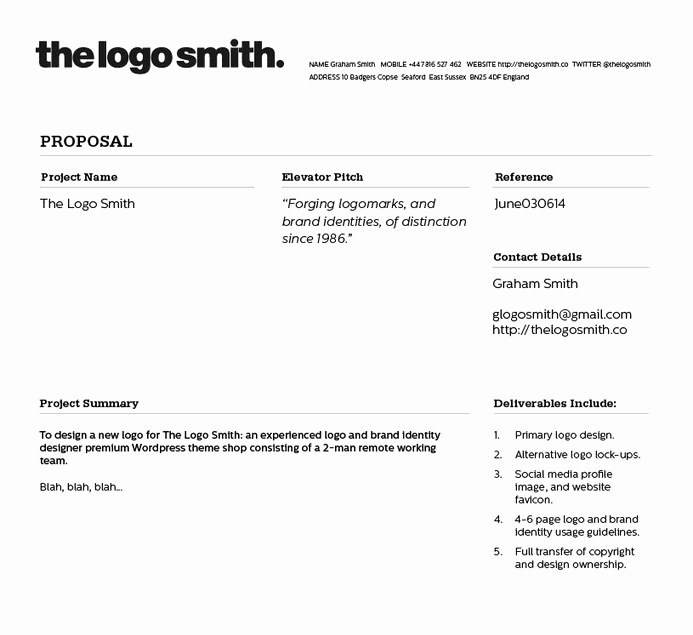 Web Design Estimate Template Unique Freelance Logo Design Proposal and Invoice Template for