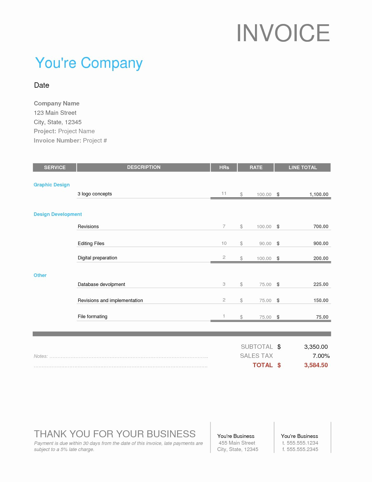 Web Design Invoice Template Beautiful Web Design Invoice Sample Invoice Template Ideas