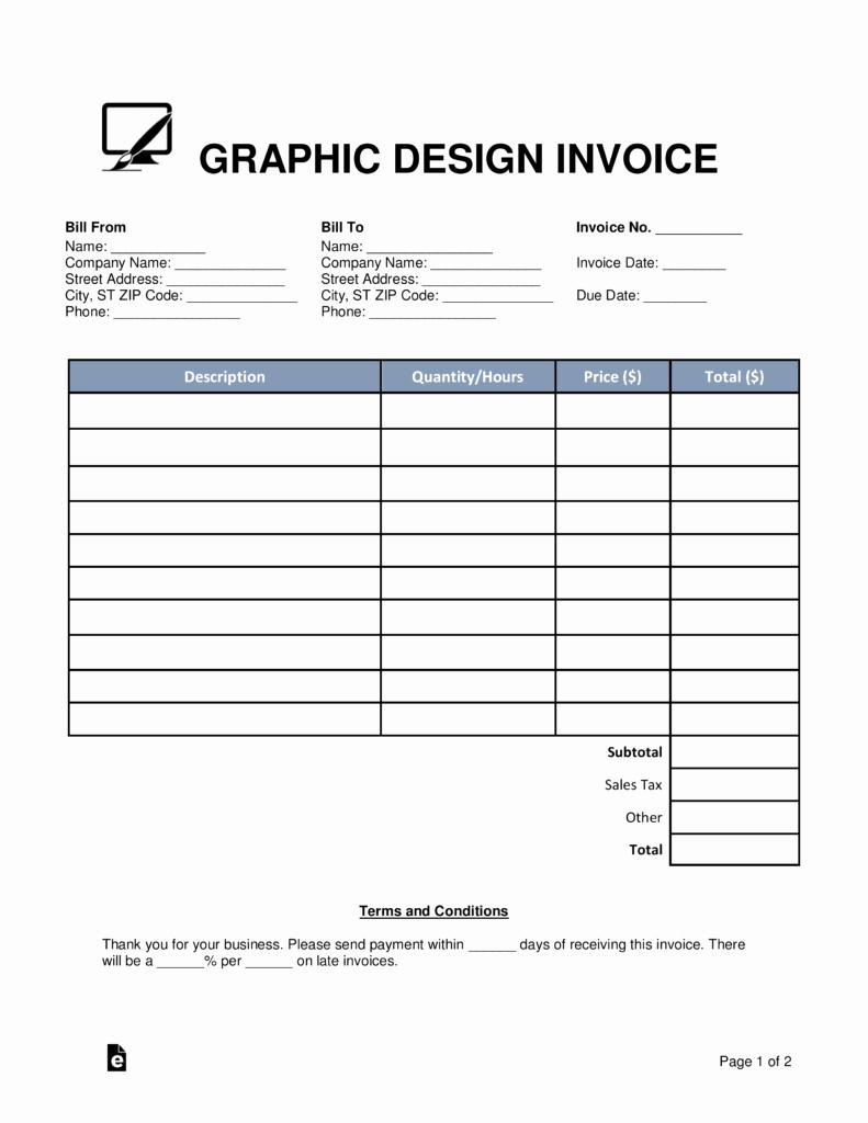 Web Design Invoice Template Elegant Free Graphic Design Invoice Template Word Pdf